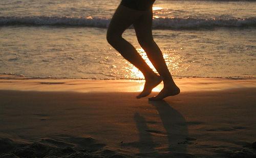 jogger on a beach
